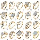 Promise Womens Swarovski Crystal Engagement Gold Rings Lots Jewellery Sz M-r