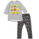 Emoji Little Girls Gray Emoticon Face Print Hi-Low 2 Pc Legging Outfit 4-6X