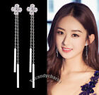 Made in Korea Face Slimming Back Drop Sterling 925 Silver Bar CZ Clover earrings