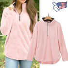 Women Soft Fleece Pullover Winter Warm Blouse Sweatshirt Zip Long Sleeve Sweater