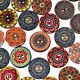 50Pcs/lot Flower Picture Wood Button 2 Holes Mixed Color Apparel Sewing DIY Gift