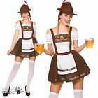 Adults Beer Wench Oktoberfest Bavarian German Maid Fancy Dress Costume + Hat