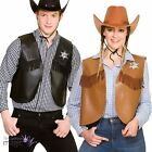 Adult Faux Leather Sheriff Cowboy Western Wild West Waistcoat Fancy Dress Outfit
