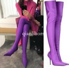 women pointy toe stilettos high heel over the knee thigh high sock boots strench
