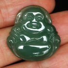 24.55CT 100% Natural Grade A Apple Green Jade Carving Buddha Pendant CDZb107