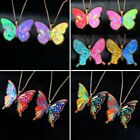 Rainbow Cartoon Printing Butterfly Pendant Necklace Women Sweater Chain Jewelry
