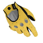 Womens Driving Gloves Leather MRX Car Biker Hand Button Finger Yellow Black New