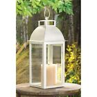 BULK LOTS Brushed Weathered Ivory Iron Pillar Candle Lanterns with Clear Glass