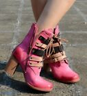Chic Womens Buckle Strap Motor Mid Heel Block Chunky Lace Up Ankle Boots Retro @