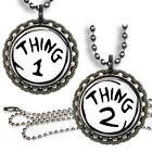 Thing 1 or Thing 2 Bottle Cap Necklace & Chain Handcrafted Cute Gift Jewelry