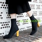 Womnes strench Socks Boots high top block high heel pull on square toe shoes new