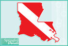 LOUISIANA Shaped DIVE Flag Vinyl Decal Car Truck Sticker SCUBA Diving Decal