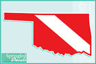 OKLAHOMA Shaped DIVE Flag Vinyl Decal Car Truck Sticker SCUBA Diving Decal