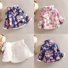 Winter Baby Kids Girls Cotton Thick Floral Bow Coat Jackets Outerwear 3-6years