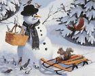"""16X20"""" DIY Paint By Number Kit Birds Xmas Snowman Paint On Canvas Oil Painting"""