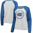 Florida Gators Blue 84 Womens B84 Cozy Fleece Raglan Crew Sweatshirts - White