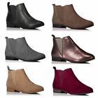 Womens Ladies Faux Leather Suede Ankle Chelsea Pull On Winter Work Shoes New