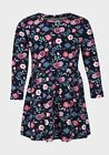Girls Dress Navy Multi Floral Skater Dresses Long Sleeve Casual Kids Cotton 2-8y