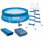 """Intex 15' x 48"""" Inflatable Easy Set Above Ground Swimming Pool, Ladder And Pump"""
