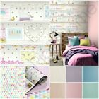 bookshelf wallpaper - ARTHOUSE GIRLS LIFE BOOKSHELF, JESTER & GLITTER WALLPAPER - PINK, LILAC & MORE
