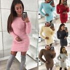Womens Ladies Fluffy Sweater Mini Jumper Dresses Winter Bodycon Party Dress Uk