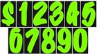 7 1/2 Inch Designer Chartreuse Numbers Car Dealer Windshield Stickers You Pick