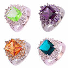 12x8mm Morganite Green Amethyst Green Topaz Gems AAA Silver Ring Party Jwellery