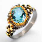14k Yellow Gold Plated Natural Blue Topaz 925 Sterling Silver Ring/ RVS01 image