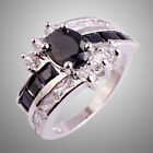 Fashion Unisex Jewelry Black Spinel & White Topaz Gems Silver Rings Sz N P R T