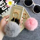 For iPhone 6 6s 7 Plus Case New Mirror Fluffy Rabbit Fur Ball Pom Pom Case Cover