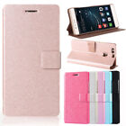 Slim Silk Leather Stand Holder Magnetic Card Flip Wallet Case Cover For Huawei
