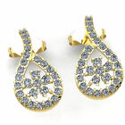 FixedPricereal 1.5carat round cut diamond ladies unique flower fashion earrings 14k gold
