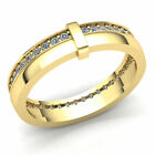 Natural 1.5ct Round Cut Diamond Mens Accent Anniversary Wedding Band 10K Gold