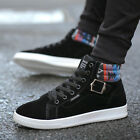 Men Fashion High Top Faux Suede Lace Up Buckle Zipper Casual Ankle Boots Shoes