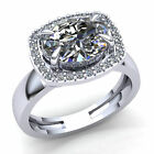 Natural 2ct Oval Cut Diamond Ladies Halo Solitaire Engagement Ring 14K Gold
