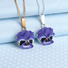 Pansy Pendant Necklace with purple flower hand painted Made in Wales UK