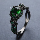 Us Vintage Round Cut Green Emerald Flower Wedding Ring Black Gold Gift Size 5-11
