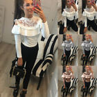 Womens Long Sleeve Frill Lace Shirt Ladies CasualTops Blouse Cold Shoulder Tees