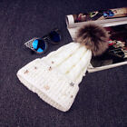 Fashion Women Lady Faux Fur Ball Winter Warm Crochet Knitted Ski Hat Cap Beanie