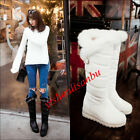 Women Snow Boots Winter Shoes Platform Warm Synthetic Leather Mid Calf Boots