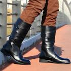 Hot Mens Pointy Toes Miod Calf Boots British Cowboy Casual Shoes Black Fashion