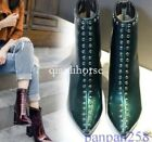 Punk US Fashion Shiny Womens Rivets Pointy Toe Shoes Block Heel High Ankle Boots