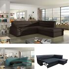 Corner Sofa Elano with Sleep Function and Bed Box in Brown funktionsecke ep912