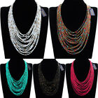 Fashion Jewelry Chain Resin Seed Beads Charm Collar Cluster Pendant Bib Necklace