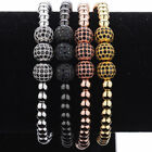 Luxury Men 24K Gold Plated Beads & Micro Pave 3 Ball Black CZ Ball Bead Bracelet