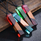 New Fashion Womens Lady Wooden Pendant Strip Sweater Chain Resin Necklace