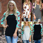 Fashion Womens Floral Long Sleeve Top Shirts Casual Tee Blouse T-Shirt Plus Size