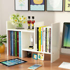 Adjustable Wood Desk Top Bookcase Shelf Rack Storage Organizer Home Office Decor