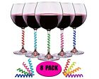 Wine Glass Charms Set of 8 Drink Markers for Cocktails, Martinis, Champagne Flut
