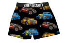 Brief Insanity Men's Boxer Shorts Hot Rods Cars Logo Boxer Shorts Underwear NEW